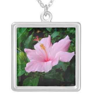 Happy pink hibiscus flower Necklace