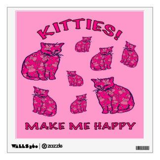 Happy Pink Kitties Wall Sticker