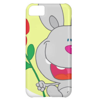 Happy Pink Nosed Bunny Holds Flower Cover For iPhone 5C