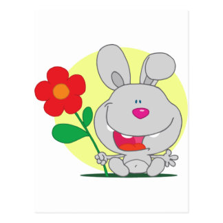 Happy Pink Nosed Bunny Holds Flower Post Cards