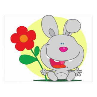 Happy Pink Nosed Bunny Holds Flower Postcards