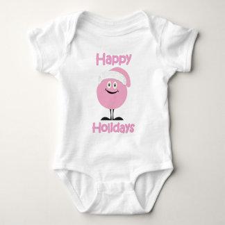Happy pink ornament wishing you happy holidays baby bodysuit