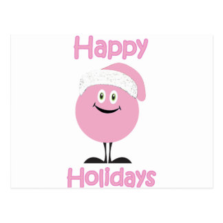 Happy pink ornament wishing you happy holidays postcard
