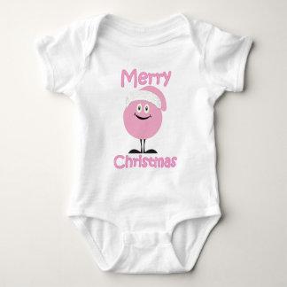 Happy pink ornaments wishing you merry christmas baby bodysuit