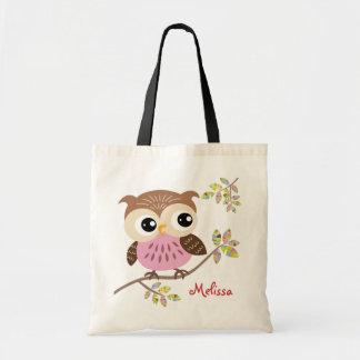 Happy Pink Owl Tote Bag