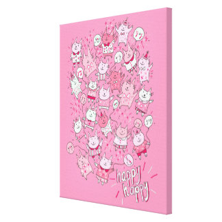 Happy Pink Party Cats Canvas Print