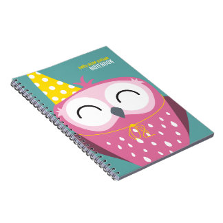 Happy Pink Party Owl Personalizable Notebook