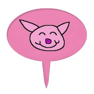 Happy Pink Pig Cake Topper