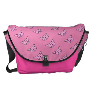 Happy Pink Pig Courier Bag