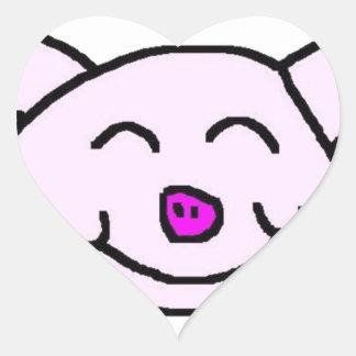 Happy Pink Pig Heart Sticker
