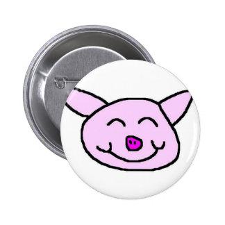 Happy Pink Pig Pinback Button