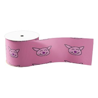 Happy Pink Pig Satin Ribbon