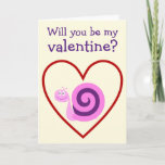 [ Thumbnail: Happy Pink & Purple Snail: Be My Valentine? Card ]