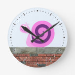 [ Thumbnail: Happy Pink & Purple Snail Character On a Wall Round Clock ]