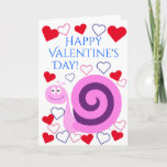 [ Thumbnail: Happy Pink & Purple Snail: Happy Valentine's Day! Card ]