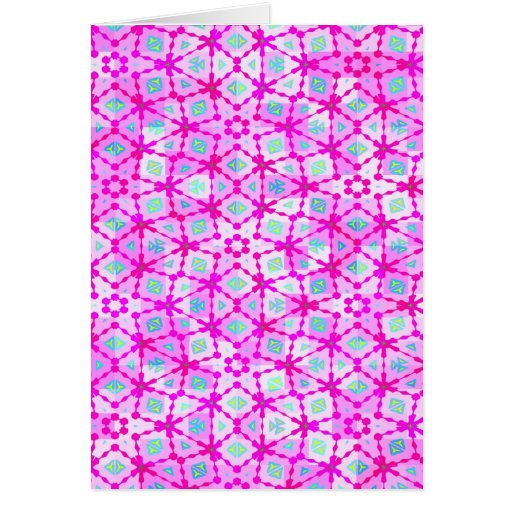 happy pink retro texture greeting card