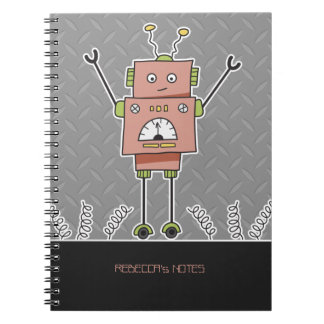 Happy Pink Robot and Springs Personalized Notebook