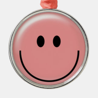 Happy pink smiley face round ornament