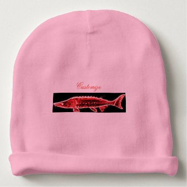 Beach Themed happy pink sturgeon baby beanie