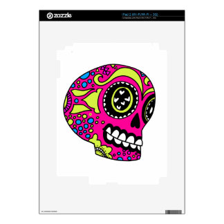 Happy Pink Sugar Skull Decal For iPad 2