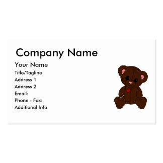 Happy Pink Teddy Bear Double-Sided Standard Business Cards (Pack Of 100)