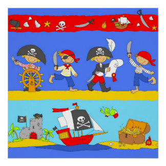 Happy Pirates looking for treasure Poster