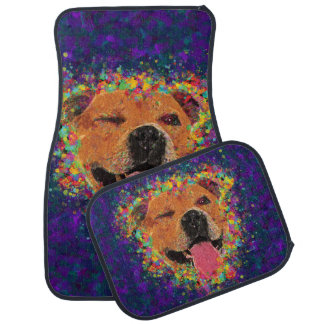 Happy Pit Bull Pop Art Car Mat