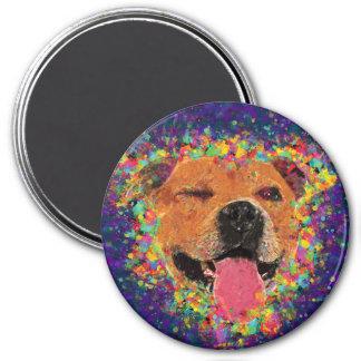 Happy Pit Bull Pop Art Magnet
