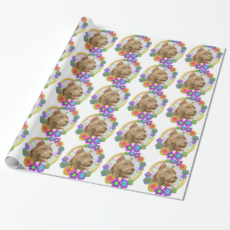 Happy Pitbull Terrier Dog & Flowers Gift Wrapping Paper