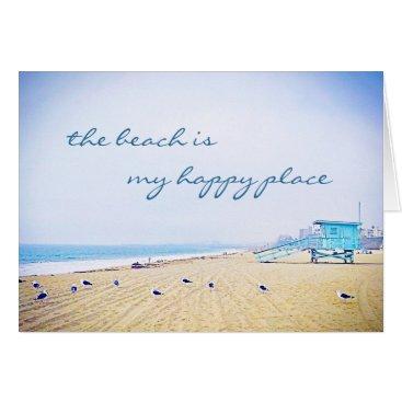 """Beach Themed """"Happy place"""" aqua beach photo blank inside card"""