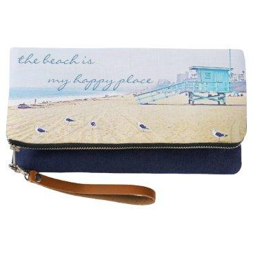 """Beach Themed """"Happy place"""" aqua beach photo fold-over clutch"""
