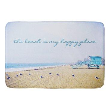 "Beach Themed ""Happy place"" aqua beach photography bath mat"