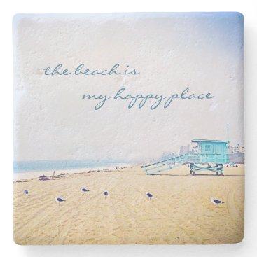 "Beach Themed ""Happy place"" aqua beach photography stone coaster"