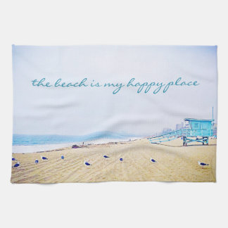 """Happy Place"" Aqua Sky & Sandy Beach Photo Kitchen Hand Towel"