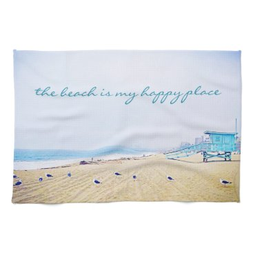 "Beach Themed ""Happy Place"" Aqua Sky & Sandy Beach Photo Kitchen Hand Towel"