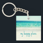 "Happy Place Beach Key Chain<br><div class=""desc"">Photograph of the ocean and white sand beach.</div>"