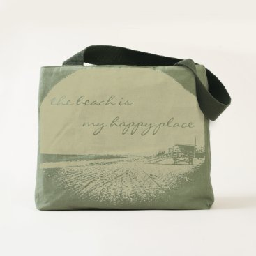 "Beach Themed ""Happy place"" beach photo olive green canvas tote"