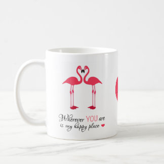 Happy Place Love Birds Pink Famingos Classic White Coffee Mug