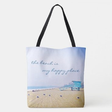 "Beach Themed ""Happy place"" quote aqua beach photo tote bag"