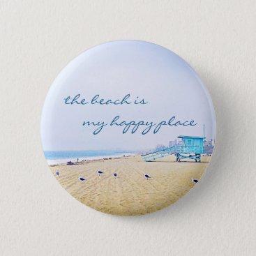 "Beach Themed ""Happy place"" quote aqua sandy beach photo button"
