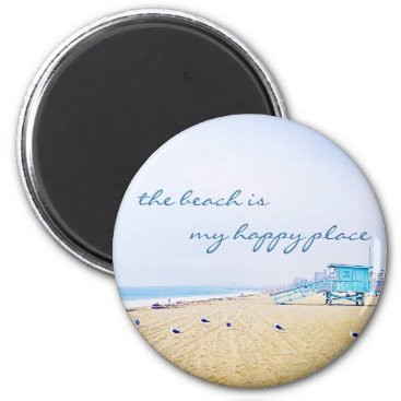 "Beach Themed ""Happy place"" quote aqua sandy beach photo magnet"