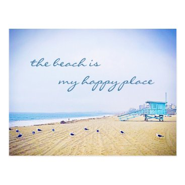 "Beach Themed ""Happy place"" quote aqua sky beach photo postcard"