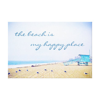 """Happy Place"" Quote Aqua Sky & Sandy Beach Photo Canvas Print"