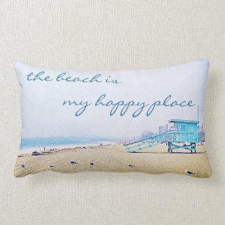 """Happy Place"" Quote Aqua Sky & Sandy Beach Photo Lumbar Pillow"