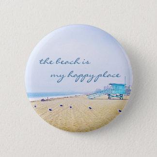 """Happy place"" quote aqua sky & sandy beach photo Pinback Button"