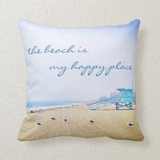 """Happy Place"" Quote Aqua Sky & Sandy Beach Photo Throw Pillow"