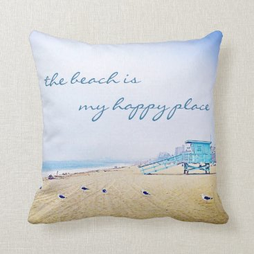 "Beach Themed ""Happy place"" quote turquoise beach photo pillow"