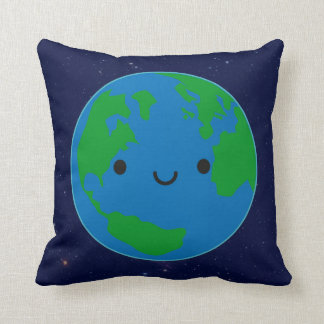 Happy Planet Earth Throw Pillow