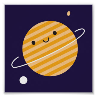 Happy Planet in Space Poster
