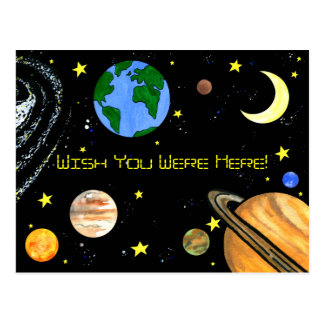 Happy Planets and Space Post Card